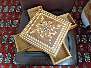 """Handcrafted Lidded Box, 4 Retractable Compartments, Wood Marquetry, 9.5"""" Square"""