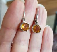 127A art deco STYLE vintage 925 silver citrine drop earrings  READ DESCRIPT