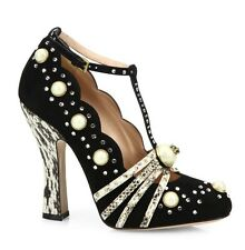 Gucci Ofelia Studded Suede Pumps 37 $1850.00