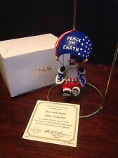 Lenox Stars & Stripe Parachuting Santa Ornament Peace On Earth With Box & Coa
