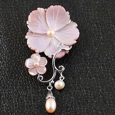 Natural Pink Flower Carved Shell Pearl Gemstone Silver Dual-use Pendant Brooches