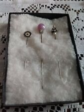 Vintage Lot Of 3 Different Hat/Stick Pins Rhinestones, Faux Pearls, Mixed Sizes