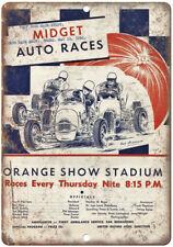 "Midget Auto Races Orange Show Stadium Ad 10"" X 7"" Reproduction Metal Sign A674"