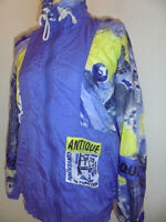 vintage 80s Canyon Nylon Jacke lila glanz new wave crazy pattern oldschool S/M