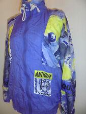 vintage 80s Canyon Nylon Jacke lila glanz new wave crazy pattern oldschool S/M