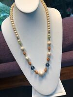 "Vintage Liz Claiborne Long Gold 24"" Necklace Pearl Glass Beaded Beautiful Clasp"