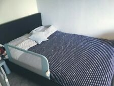 black leather double bed with mattress