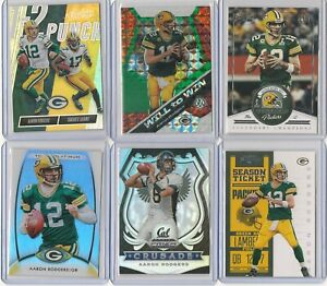 AARON RODGERS 6 Card Lot 2020 Prizm(2) '18 Absolute '12Contenders(2) &Platinum
