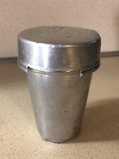 Vintage Aluminum Camping Travel Drinking Nesting Cups Set-6 W Inscription OOAK