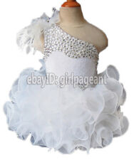 Infant/toddler/baby White Feather Lace Crystals Pageant Glitz Dress 3T G095-1