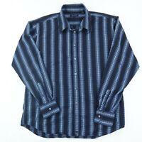 Ted Baker London Button Up Shirt Men's Size 5 Striped Designer Logo Collared