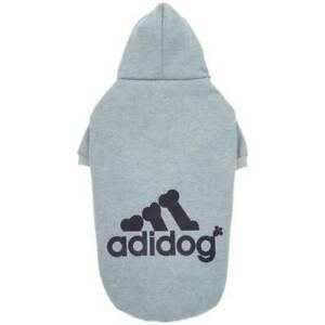 Adidog Logo Fleece Hoodie Dog Clothing Grey NWT