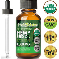 Peppermint Hemp Oil Extract for Pain Relief, Stress, Anxiety, Sleep, Keto 1000mg