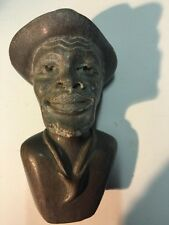 """African Male Head Soapstone Sculpture, Classic Rural Look With Brim Hat 6""""High"""