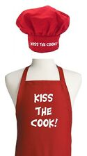 Valentine Gift Ideas Kiss The Cook Red Apron And Chef Hat Set by CoolAprons