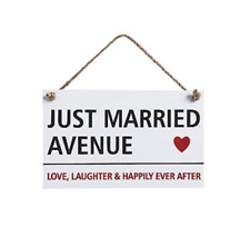 Just Married Sign Wedding Venue Hanging Plaque Reception Decor Slogan Keepsake