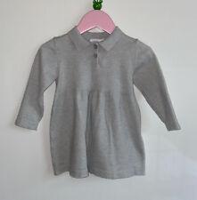 Zara Baby Girls 9-12 Months Grey Soft Knit Shirt Dress