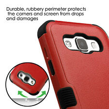 For SAMSUNG Galaxy E5 / S978L RED BLACK TUFF HYBRID ACCESSORY SKIN COVER CASE