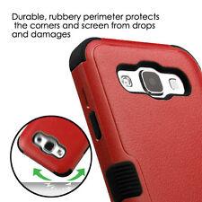 For SAMSUNG Galaxy E5 / S978L RED BLACK TUFF HYBRID ACCESSORY SKIN COVER CASE