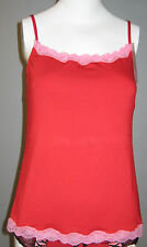 New Jezebel Size M Red Camisole with Pink Lace Accent