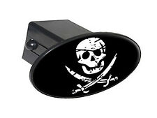 "Pirate Skull Crossed Swords - 2"" Tow Trailer Hitch Cover Plug Insert"