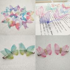 10pcs 5cm Chiffon Butterfly Ear Stud Hair Cloth Accessories Single Piece Cotton