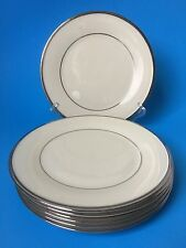 6 Lenox Solitaire Salad Plates Ivory Platinum Trim Fine China 8""