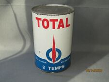 RARE Vintage TOTAL 2 TEMPS MOTOR OIL CAN 1 liter can