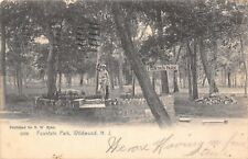Wildwood New Jersey~Fountain Park~Sign on Tree~Statue in Pool~1906 B&W Postcard