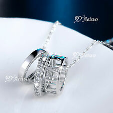 18k white gold gf Roman numbers simulated diamond 3 ring pendant chain necklace