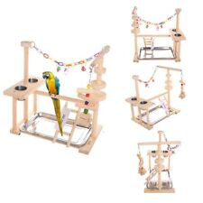 Bird Play Stand Parrot Playground Wood Ladder Perch Gym Playpen With Feeder Cups
