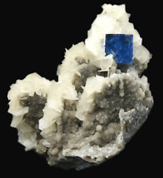 198.4g Rare Transparent Blue Fluorite & Calcite Mineral Crystal Specimen/China