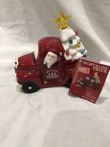 Christmas Light-Up Nostalgic Ceramic Santa Vintage Red Truck With White Tree