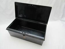Vintage Spearhead brand black metal tin deed box