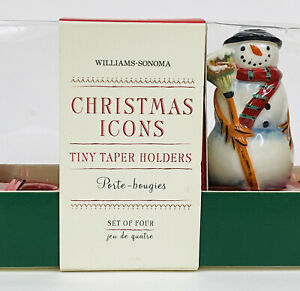 Williams Sonoma CHRISTMAS ICONS TINY TAPERS SET OF 4 CANDLE HOLDERS NIB