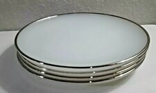 "VINTAGE SET OF 4 ANCHOR HOCKING WHITE GLASS 7"" PLATES SILVER TRIMMED MADE IN USA"