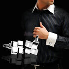 Men's Silver Geometric Dress Shirt Cufflinks Cuff Links Wedding Groom Gift