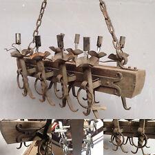 lustre rustique Poutre en bois et  fer forgé/ Lustre rustique / Luminaire