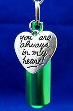 Cremation Memorial Keychain Urn Green w/ You are always in my Heart Charm