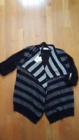 Calvin Klein Women's Marled Ribbed Cardigan - size Small   Color Black and white