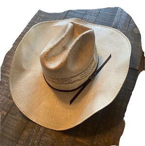 Twister Bangora Tan Straw Hat T71624 Twister Pin Ribbon NWOT 7 1/4 Ranch Rodeo