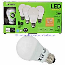 4 Bulbs 75W EQUIVALENT LED DIMMABLE ENERGY Star SAVING LED LIGHT BULB Sunrise