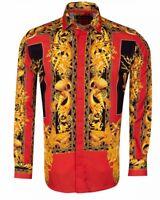 Mens Oscar Banks Turkey Shirt Satin Floral Performer European 6588 Red Gold New
