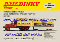 Dinky 881 Pinder Circus Truck and Trailer A4 size 1968 Poster Advert Shop Sign