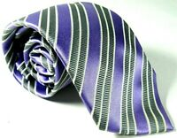 Donald J. Trump Men's Tie Signature Collection Lavender Gray 100% Silk Striped