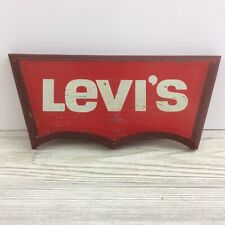 """Levi's Wood Painted Store Display Sign Advertising Vintage Wall Art 12"""" X 5"""""""