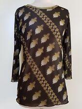 TIFFANY TRELOAR Black/Green Mesh Stretch Knit Top Size 2/S-M/10