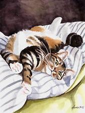 """""""Guten Morgen"""", Katze, Cat, Chat, Gato, Original Aquarell 24x32, Studio-Milamas"""