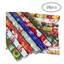 10Pcs Christmas Gift Wrap Paper Christmas Wrapping Paper Bundle with Cut Lines