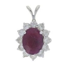 White Gold Ruby & Diamond Pendant - 14k Oval Cut 5.83ctw Flower Halo